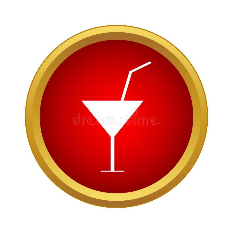 Vetro di Martini con l'icona del cocktail, stile semplice illustrazione vettoriale
