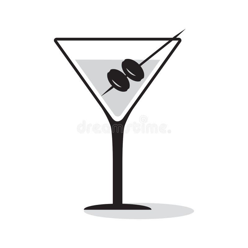 Vetro di martini con le olive Bevanda nera e grigia dell'icona Illustrazione di vettore royalty illustrazione gratis