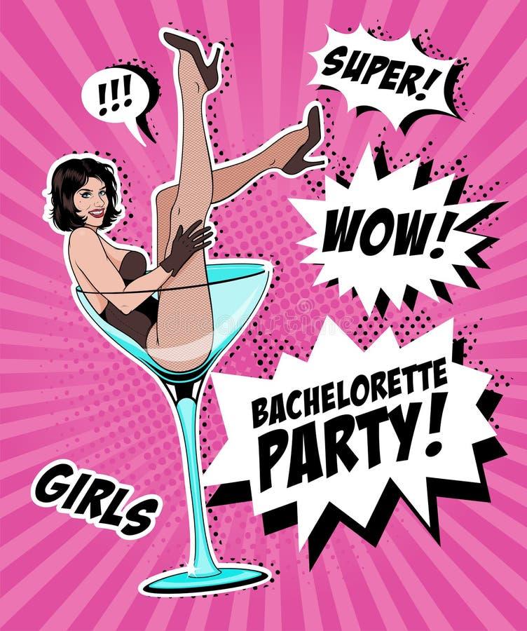 Vetro di Pin Up Girl In Martini illustrazione vettoriale