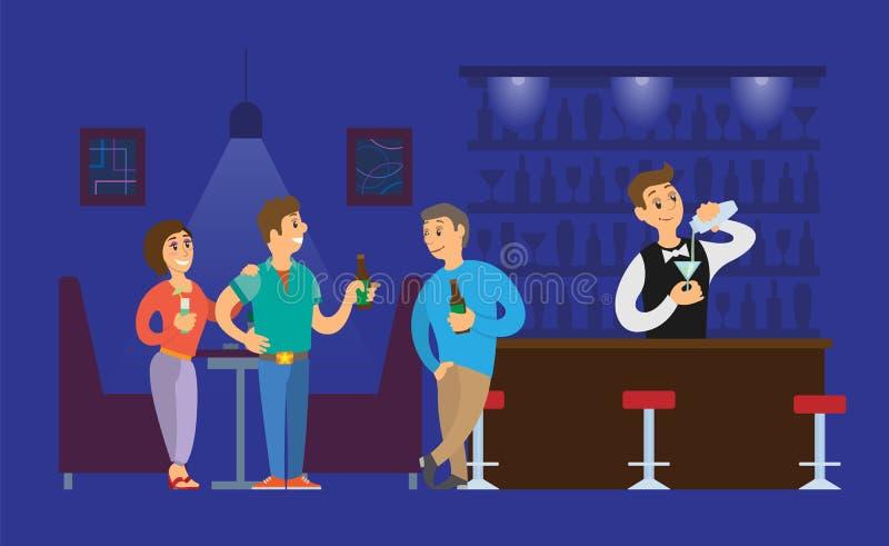 Vetro di Pouring Alcoholic Drinks del barista del night-club illustrazione di stock