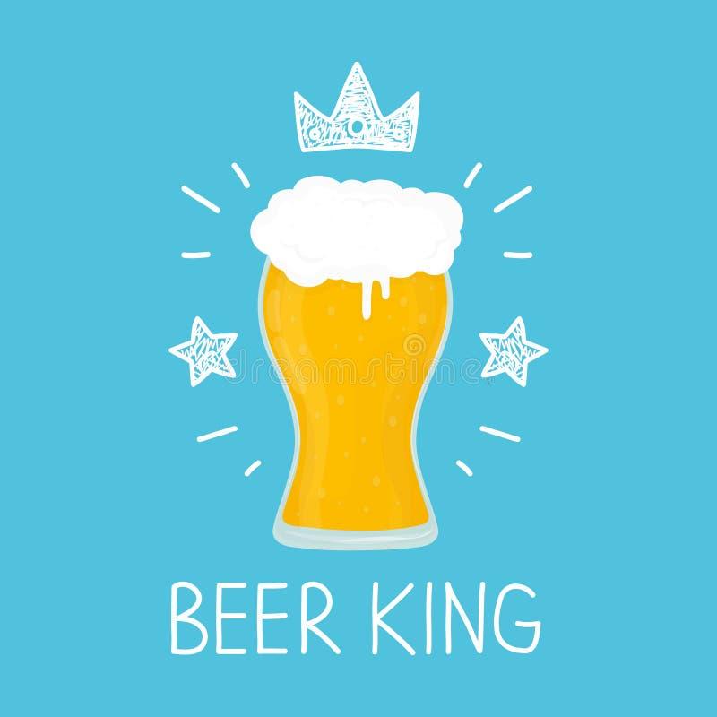 Vetro di re di birra fumetto di vettore piano e illustrazione di stock