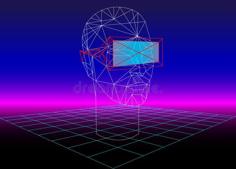 Vetro di realtà virtuale 3D della scatola di VR per i giochi 3D ed i film 3D retro fondo di fantascienza 80s con la cuffia avrico illustrazione vettoriale