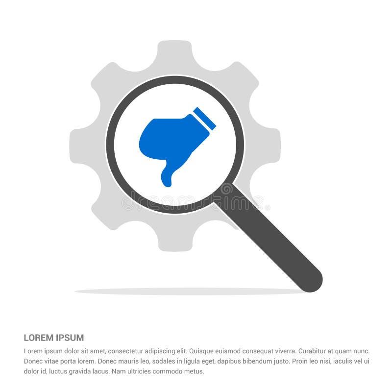 vetro di ricerca dell'icona di avversione con il modello dell'icona di simbolo dell'ingranaggio illustrazione di stock