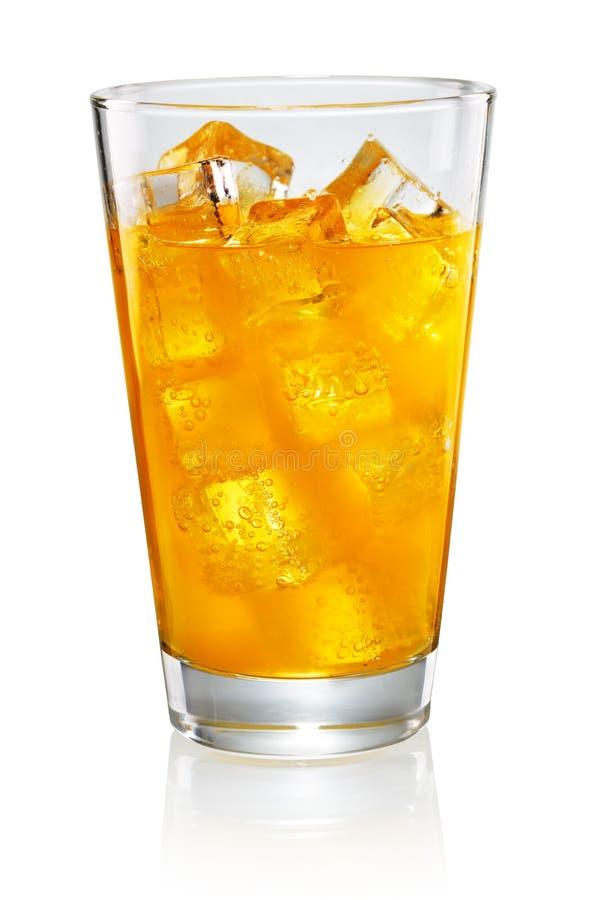 Vetro di soda arancione fotografia stock