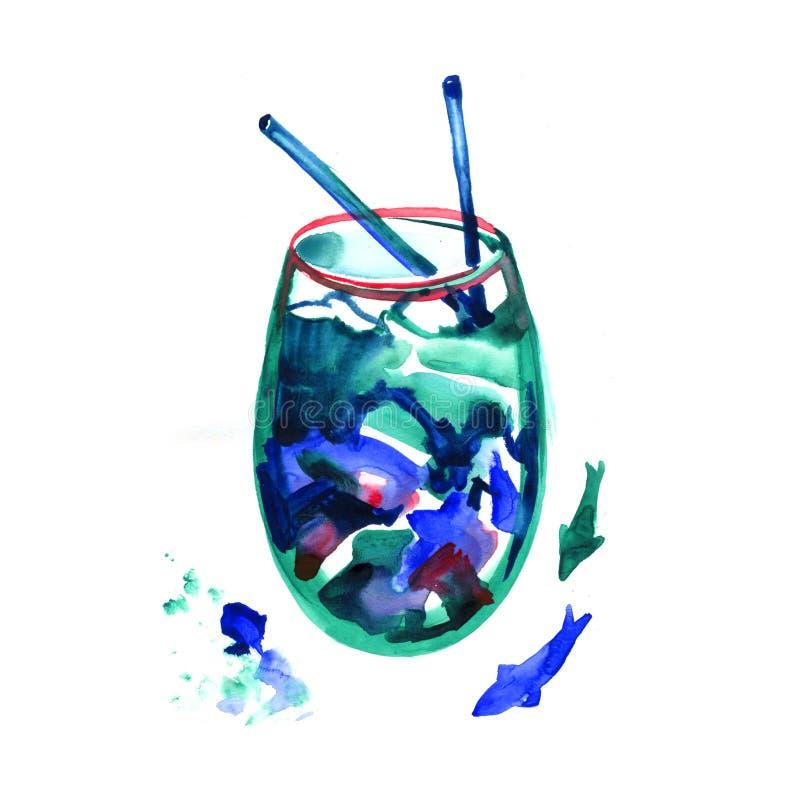 Vetro di un cocktail e di una spruzzata blu della laguna Immagine di una bevanda alcolica Illustrazione disegnata a mano dell'acq royalty illustrazione gratis