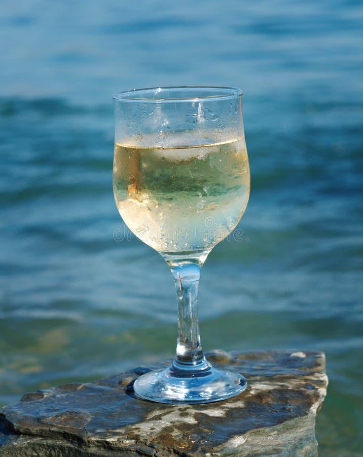 Vetro di vino bianco dalla costa immagine stock libera da diritti