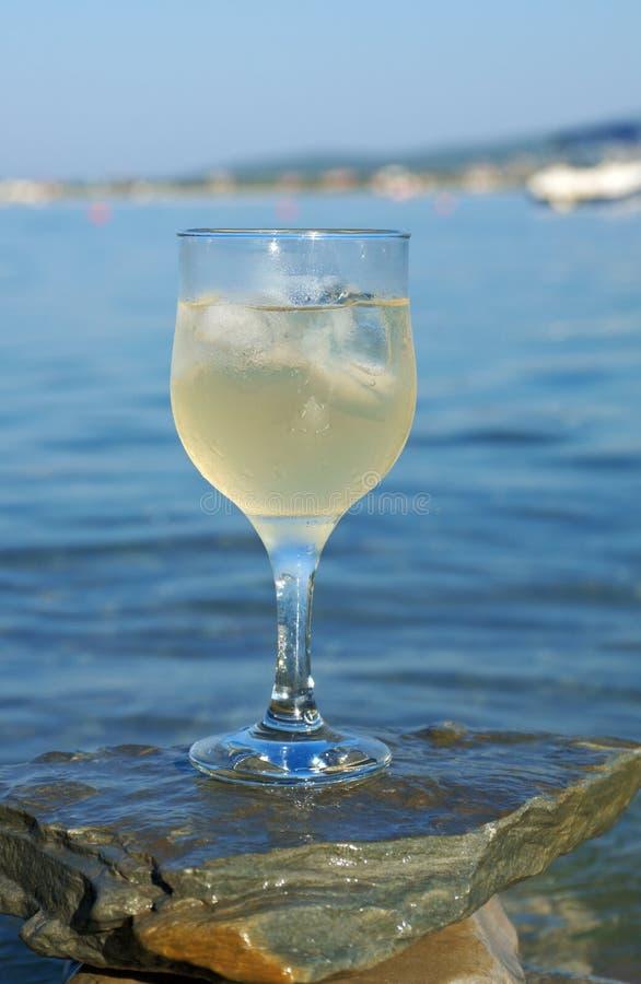 Vetro di vino bianco dalla costa immagini stock libere da diritti
