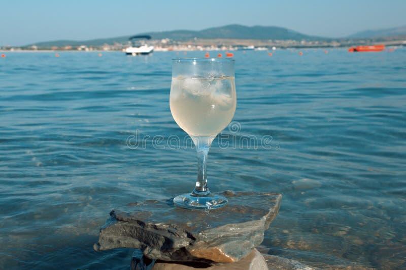 Vetro di vino bianco dalla costa fotografia stock libera da diritti