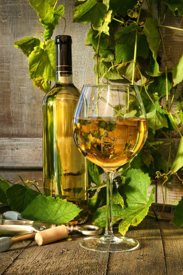 Vetro di vino bianco e della bottiglia sul barilotto fotografia stock libera da diritti