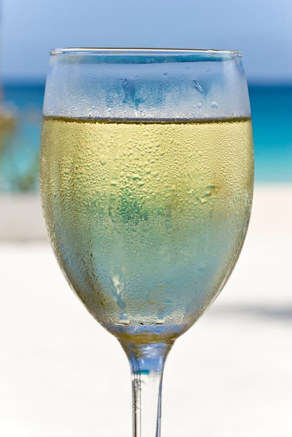 Vetro di vino bianco sulla spiaggia immagini stock libere da diritti
