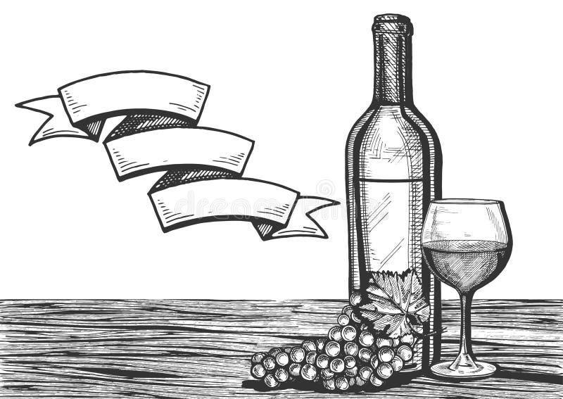 Vetro di vino, bottiglia e mazzo dell'uva su una superficie di legno illustrazione vettoriale