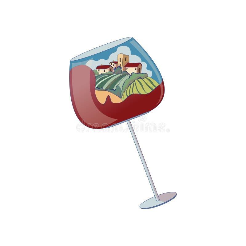 Vetro di vino con alcune case nella distanza Illustrazione di vettore su priorit? bassa bianca illustrazione di stock