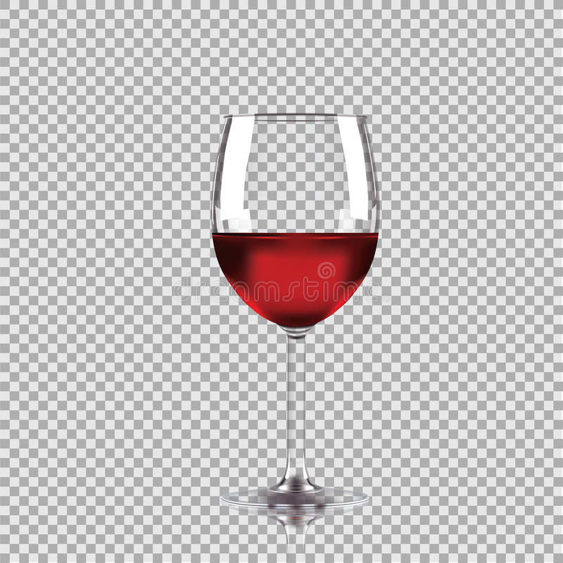 Vetro di vino con vino rosso, illustrazione trasparente di vettore fotografie stock
