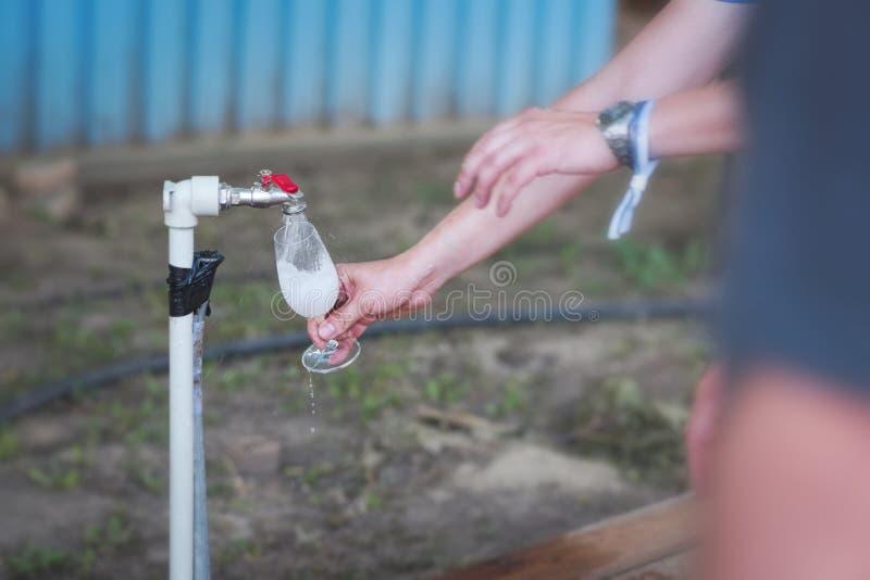 Vetro di vino di lavaggio fotografia stock libera da diritti