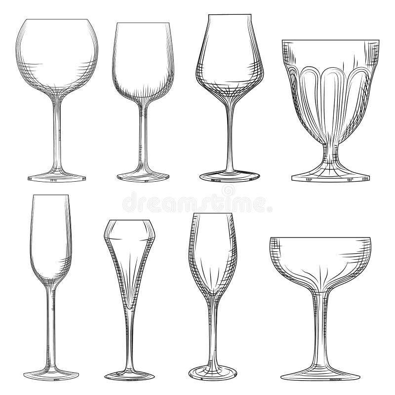 Vetro di vino differente Scintillare vuoto disegnato a mano, champagne e vino royalty illustrazione gratis