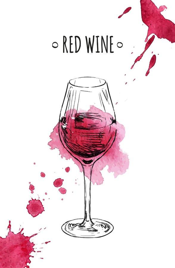 Vetro di vino rosso royalty illustrazione gratis