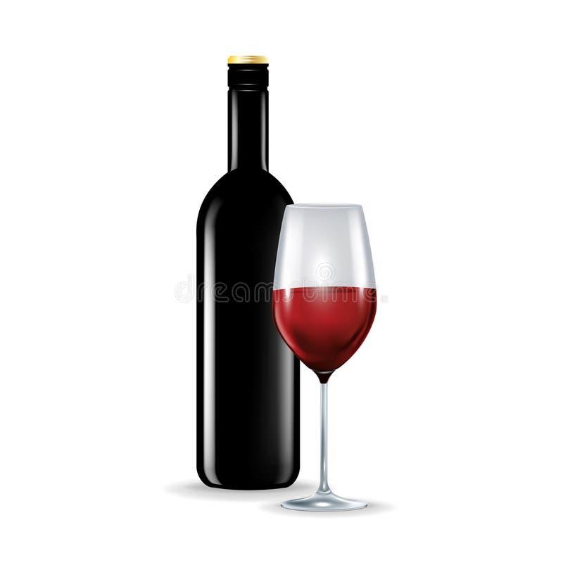 Vetro di vino rosso con la bottiglia isolata illustrazione vettoriale