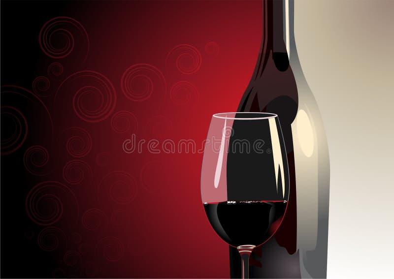 Vetro di vino rosso con una bottiglia illustrazione vettoriale