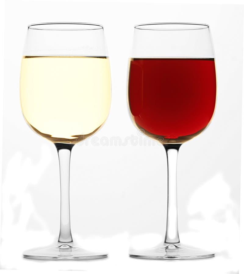 Vetro di vino rosso e di vino bianco fotografia stock libera da diritti