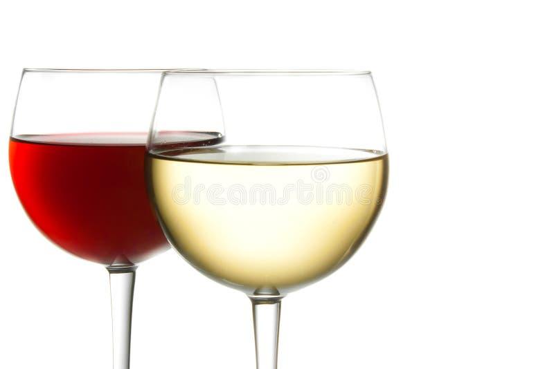 Vetro di vino rosso e di vino bianco fotografia stock