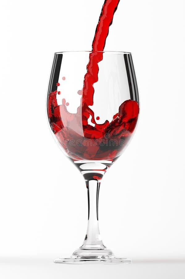 Vetro di vino rosso su bianco illustrazione vettoriale