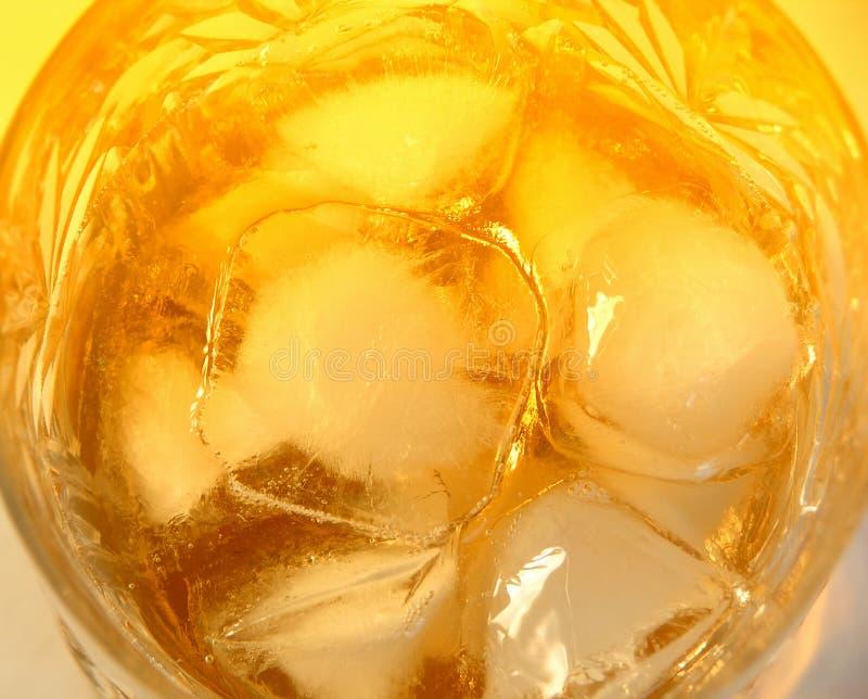 Vetro di whisky con le rocce fotografia stock
