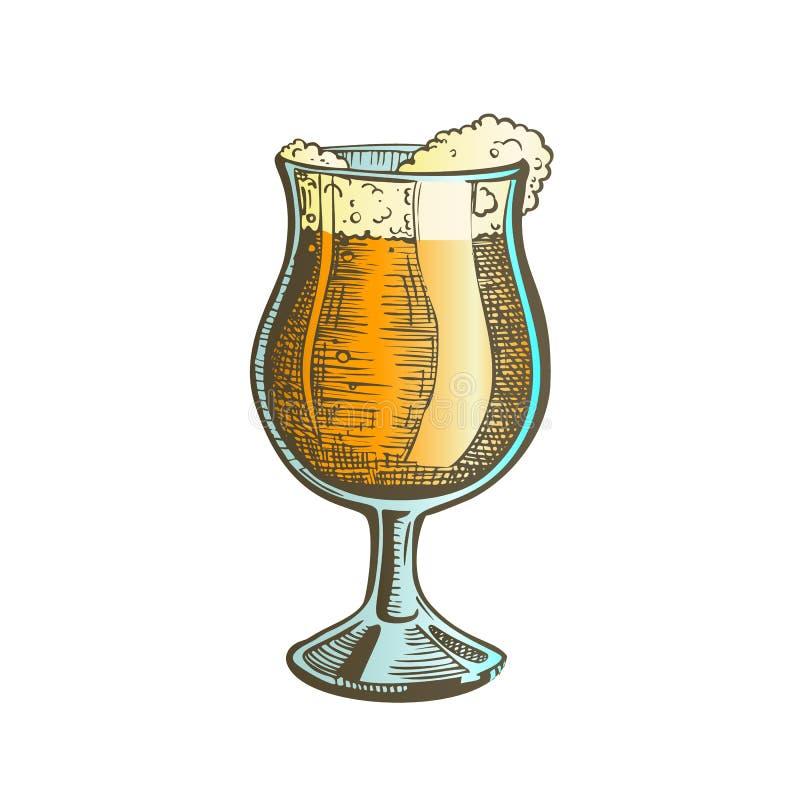 Vetro disegnato a mano su colore della gamba con il vettore della birra della schiuma royalty illustrazione gratis