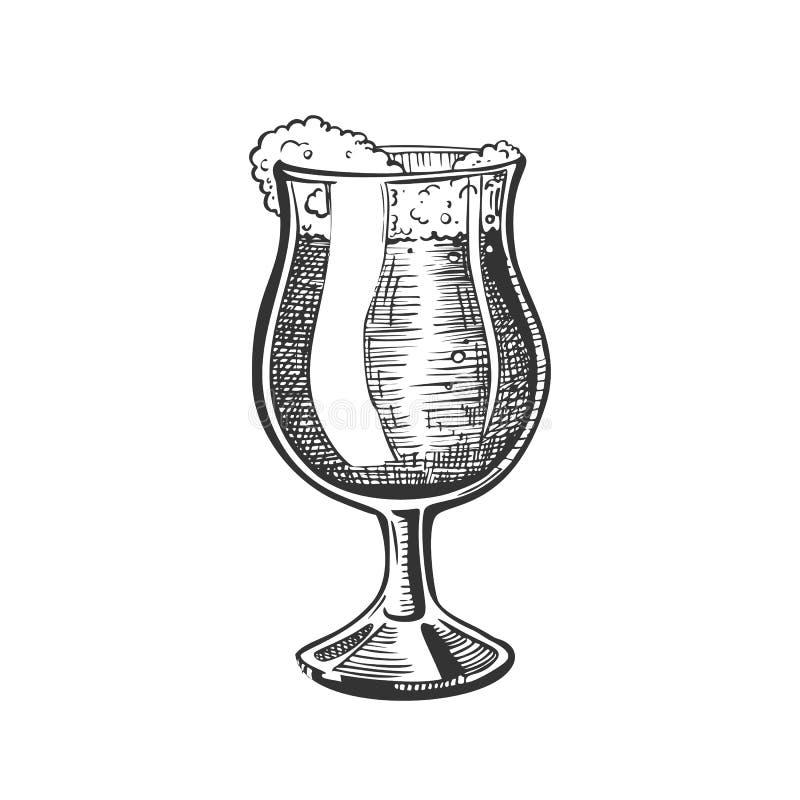 Vetro disegnato a mano sulla gamba con il vettore della birra della schiuma royalty illustrazione gratis