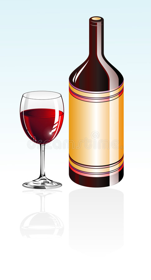 Download Vetro e bottiglia di vino illustrazione vettoriale. Illustrazione di isolato - 7309776