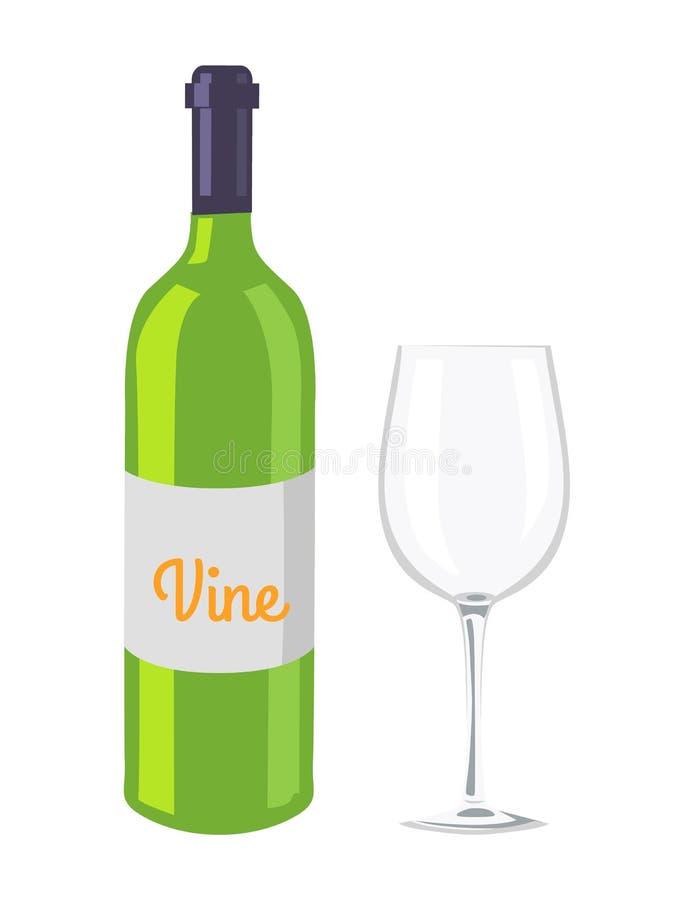 Vetro e bottiglia di vino isolati sul contesto bianco illustrazione vettoriale