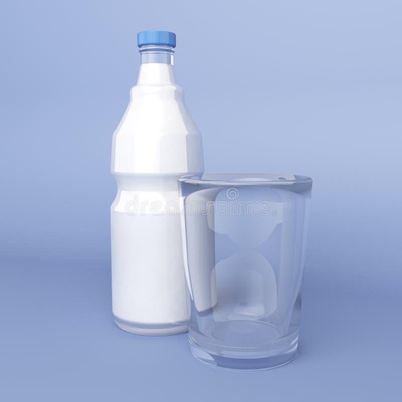 Vetro e bottiglia vuoti di latte illustrazione vettoriale