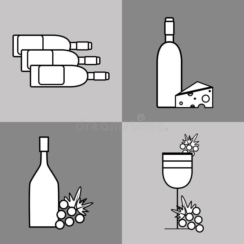 Vetro e bottiglie di vino con il chesee e l'uva illustrazione vettoriale