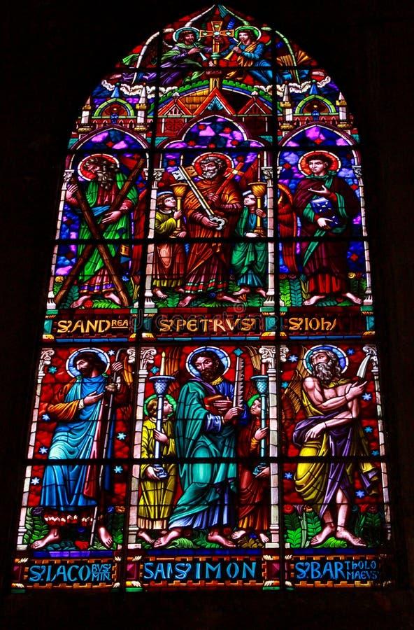 Vetro macchiato della cattedrale di Manizales immagini stock