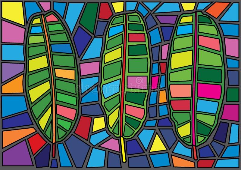 Vetro macchiato di Mosè della foglia della banana illustrazione di stock