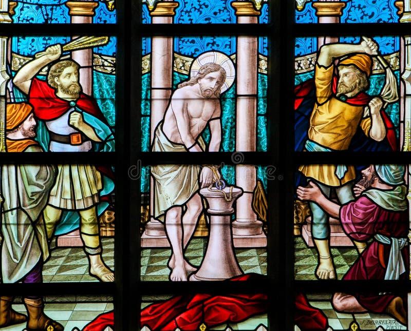 Vetro macchiato - flagellazione di Gesù immagine stock