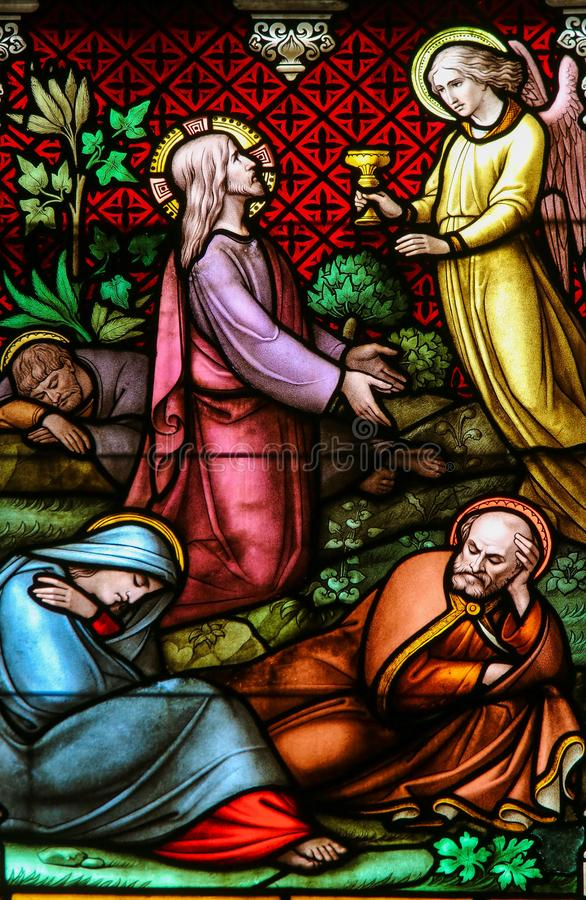 Vetro macchiato - Jesus Christ nel giardino di Gethsemane fotografia stock