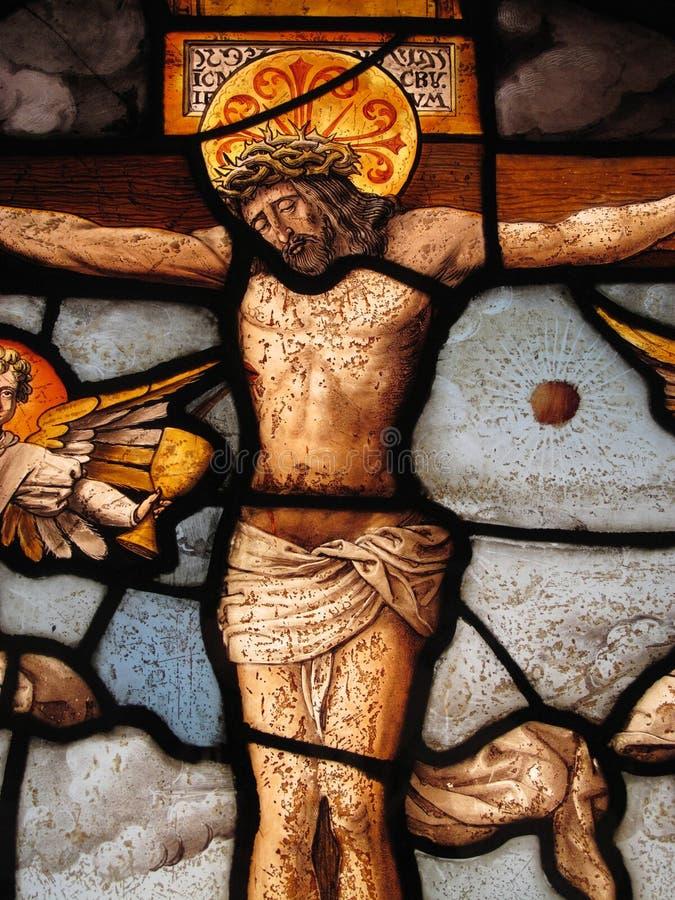 Vetro macchiato medioevale la crucifissione fotografia stock