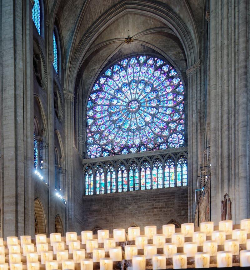 Vetro macchiato nella cattedrale di Notre Dame de Paris, Parigi, Francia fotografia stock libera da diritti