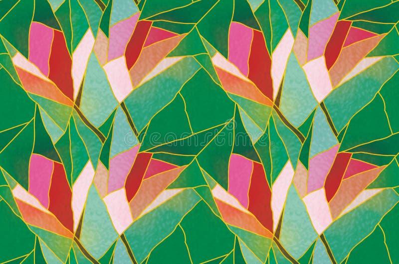 Vetro macchiato senza cuciture multicolore con il motivo floreale, vettore del modello illustrazione di stock