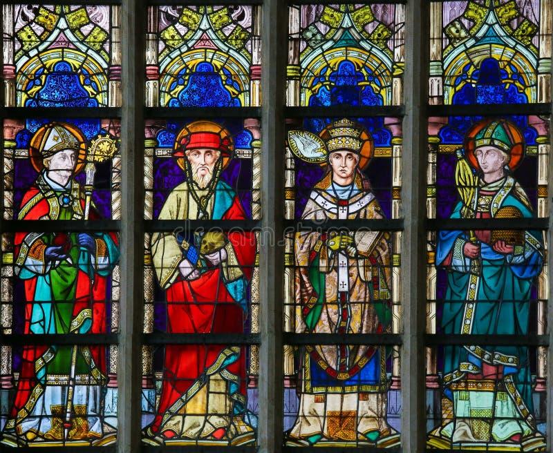 Vetro macchiato - St Augustine, Jerome, Gregory e Ambrose fotografia stock libera da diritti