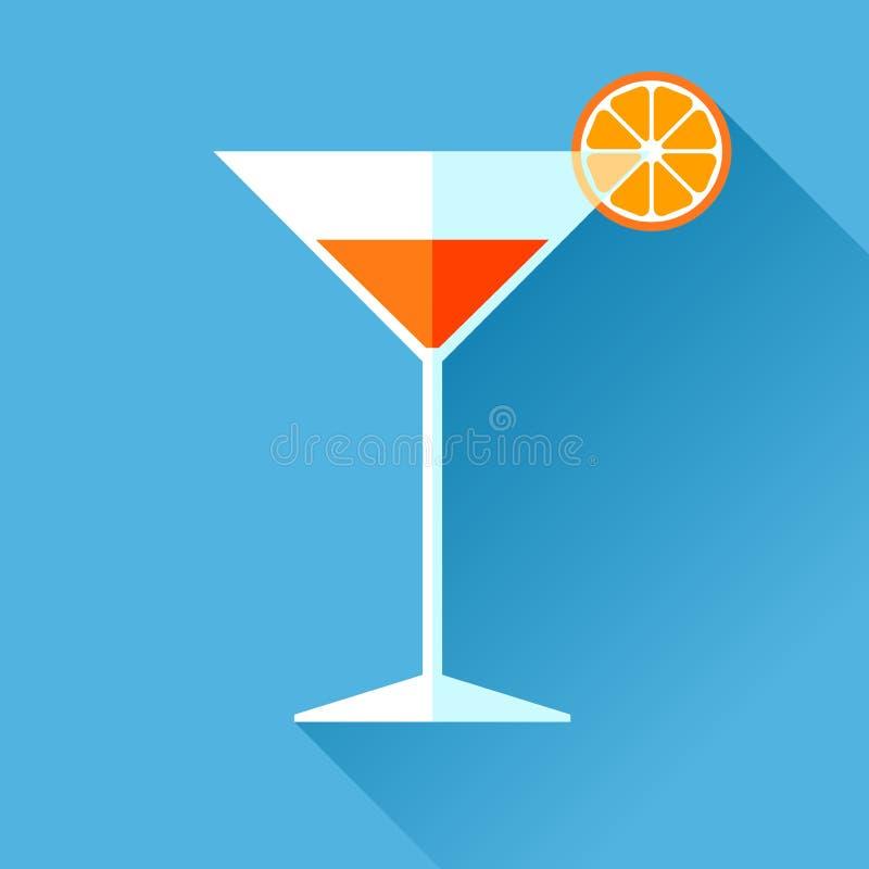 Vetro per l'icona nello stile piano, bicchiere di vino del vermut sul fondo di colore Cocktail dell'alcool con il limone Elementi illustrazione vettoriale