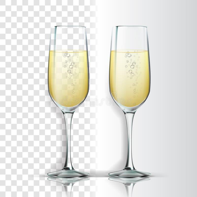 Vetro realistico con scintillare Champagne Vector illustrazione di stock