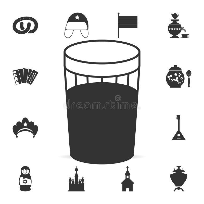 vetro sfaccettato dell'icona della vodka Insieme dettagliato delle icone della cultura russa Progettazione grafica premio Una del illustrazione vettoriale