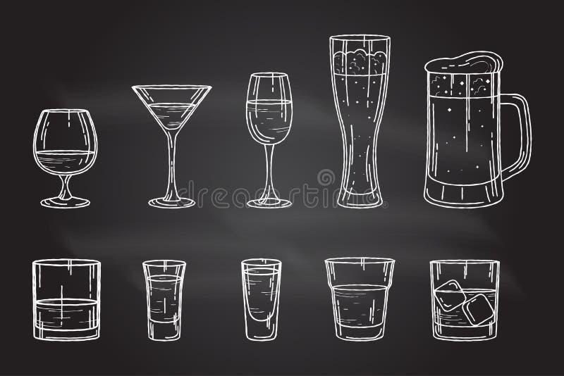 Vetro stabilito dell'alcool della bevanda illustrazione di stock