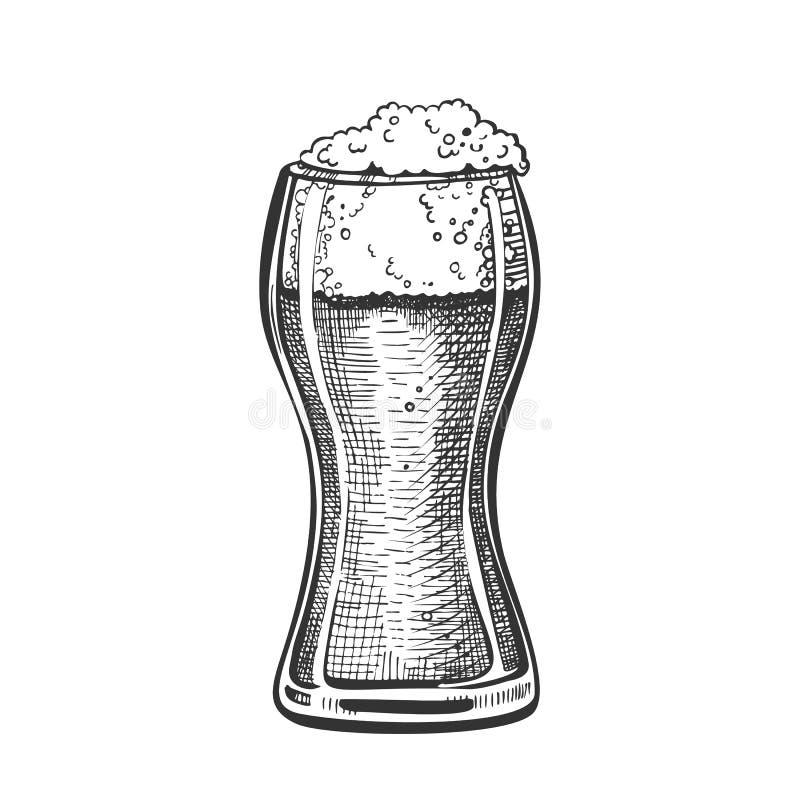 Vetro standard tirato del pub con il vettore della birra della schiuma royalty illustrazione gratis