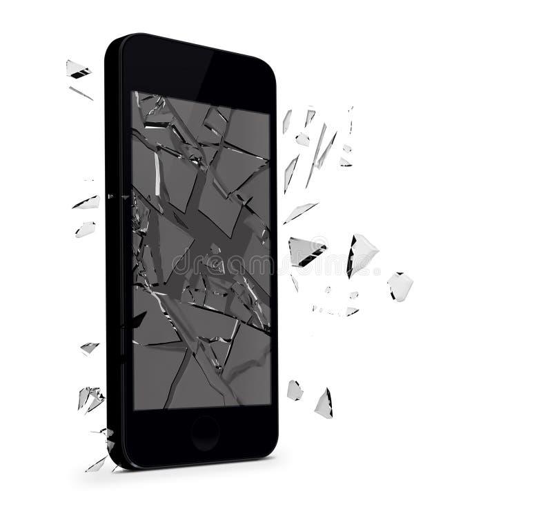 Vetro tagliato Smartphone illustrazione di stock