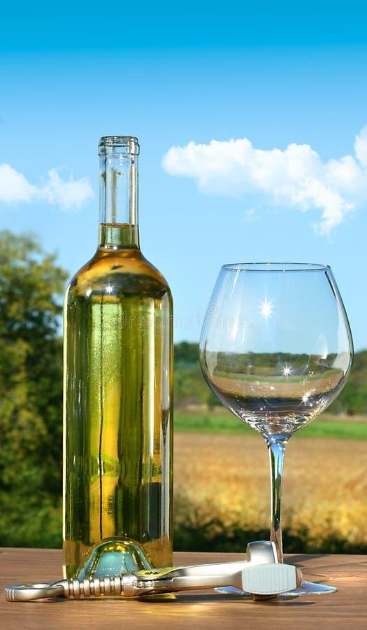 Vetro vuoto con una bottiglia di vino bianco fotografia stock
