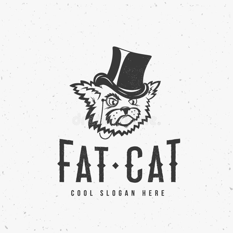 Vette Cat Abstract Vintage Vector Sign, Symbool of Logo Template met Sjofel Texturen en Drukeffect royalty-vrije illustratie