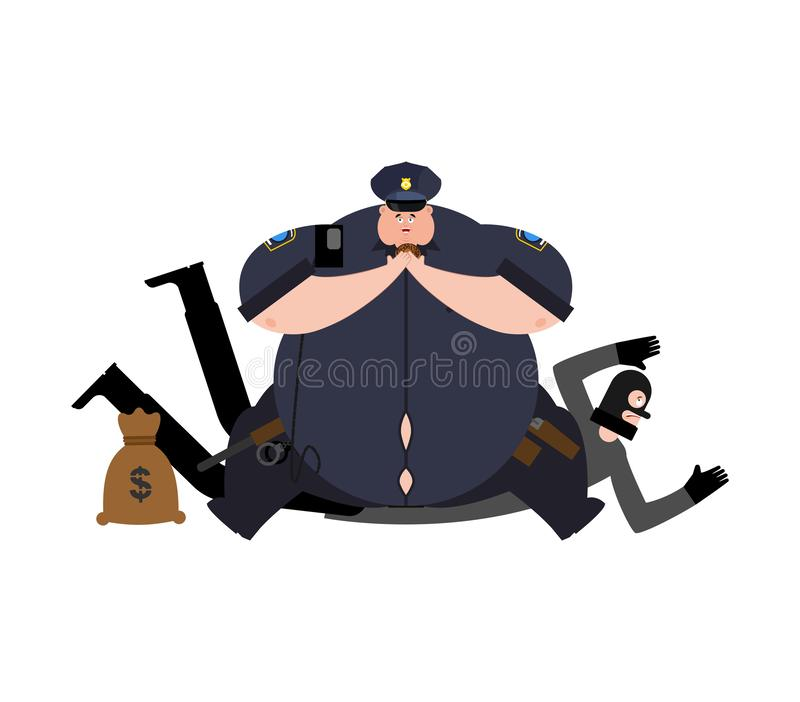 Vette Cop en Roversopsluiting Dikke Politieagent en inbreker arres stock illustratie