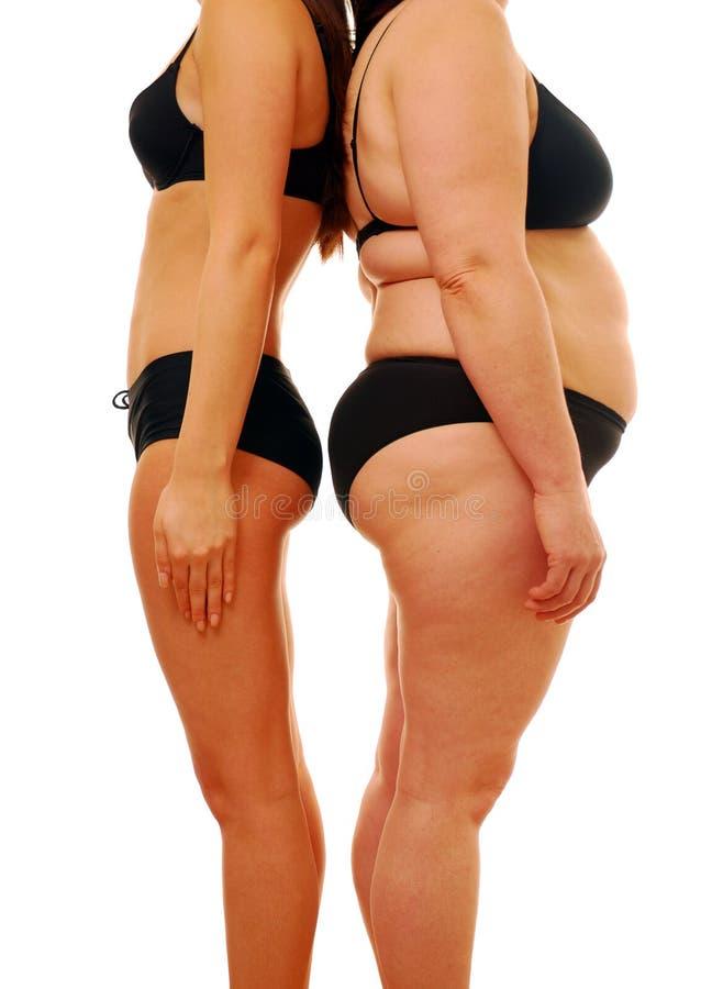Vette en dunne vrouw stock afbeeldingen